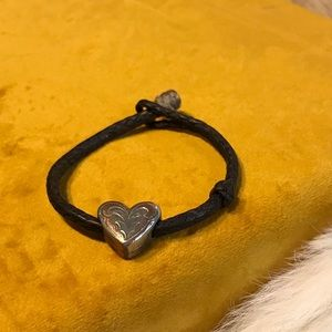 Brown Leather Bracelet with Heart Bead